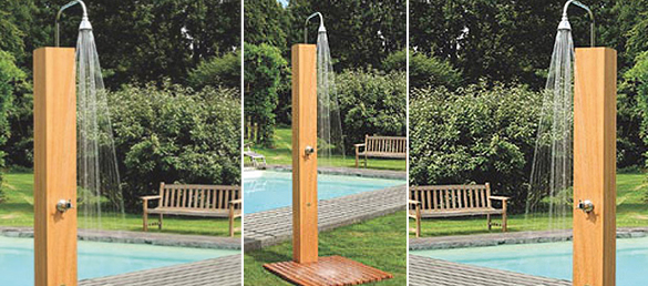 ducha solar de madera de iroko