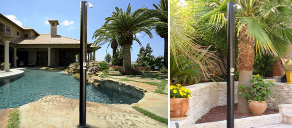 Ducha solar de pvc capacidad 25 litros la web de las - Duchas solares para piscinas ...