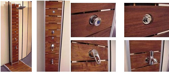 Duchas solares de madera y aluminio la web de las duchas for Ducha madera